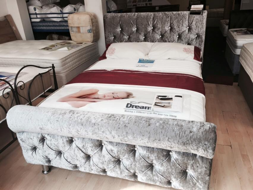 crush velvet double bed frame
